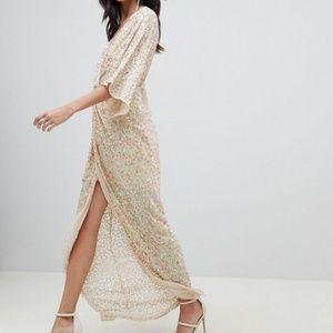 NWT ASOS sequin knot front kimono maxi dress 10 us